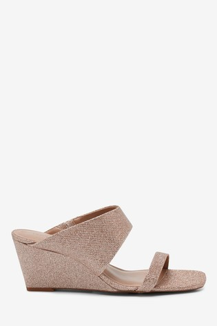 Champagne Shimmer Two Band Mule Wedges