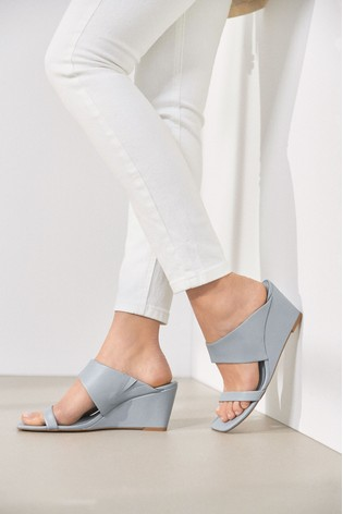 Blue Two Band Mule Wedges