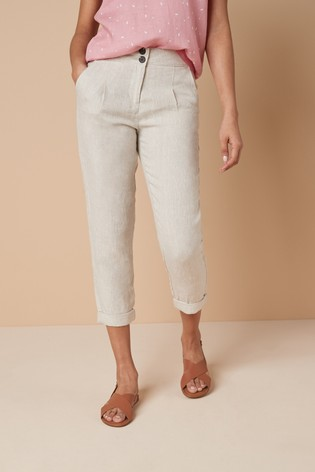 Stone 100% Linen Taper Trousers
