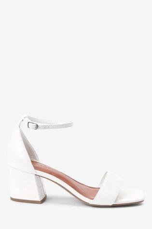 White Regular/Wide Fit Forever Comfort® Simple Block Heel Sandals