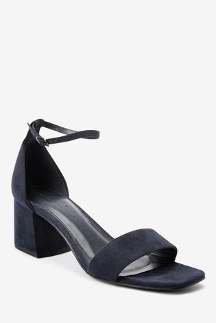 Navy Regular/Wide Fit Forever Comfort® Simple Block Heel Sandals