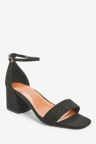 Black Extra Wide Fit Forever Comfort® Simple Block Heel Sandals