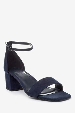 Navy Extra Wide Fit Forever Comfort® Simple Block Heel Sandals
