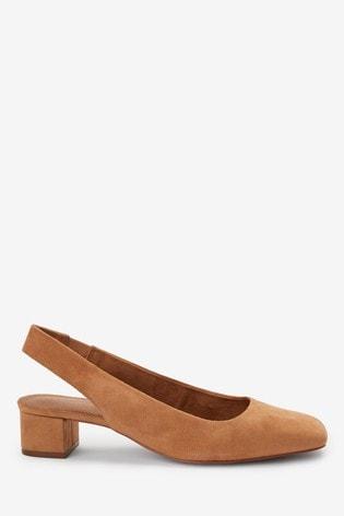 Camel Leather Square Toe Slingbacks