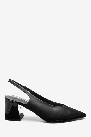 Black Block Heel Leather Slingbacks
