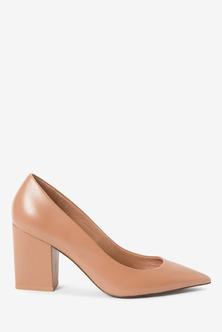 Nude Leather Block Heel Courts