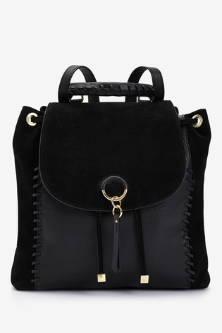 Black Leather Whipstitch Rucksack