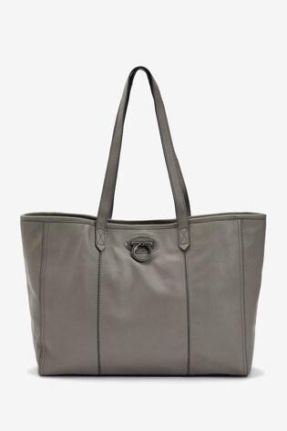 Grey Leather Lock Shopper