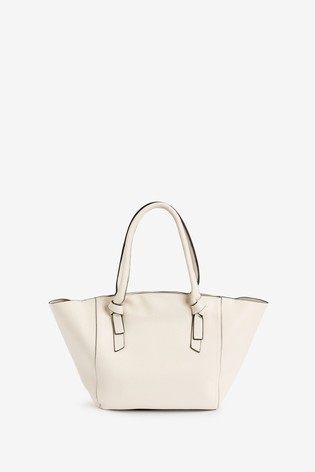 Cream Knot Handle Detail Shopper Bag