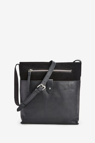 Black Leather Messenger Across-Body Bag