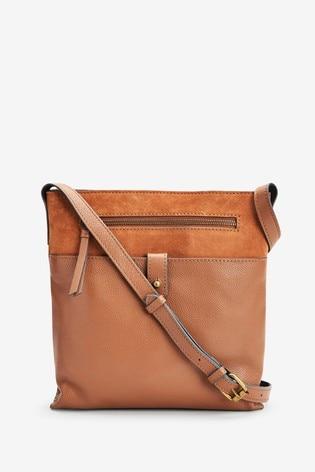 Tan Leather Messenger Across-Body Bag