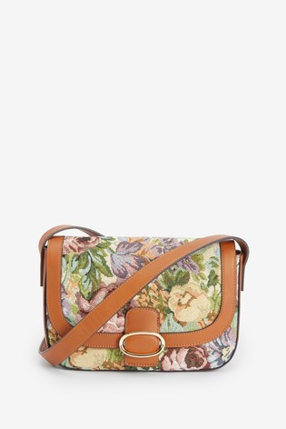 Floral Oval Hardware Across Body Bag
