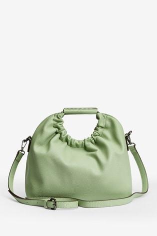 Mint Gathered Handle Tote Bag