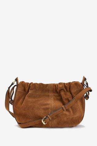 Tan Suede Leather Drawstring Cross-Body Bucket Bag