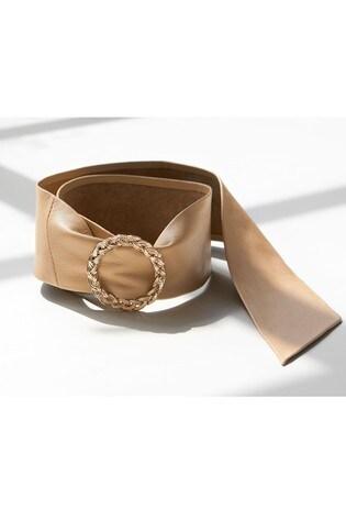 Cream Wide Leather Belt