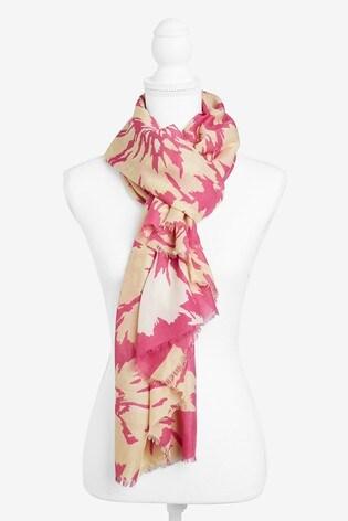 Pink Large Floral Print Scarf