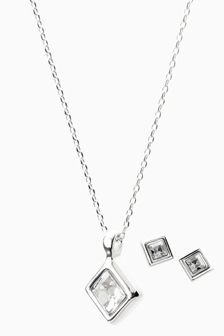 Silver Plated Square Necklace And Earrings Set With Swarovski® Crystals