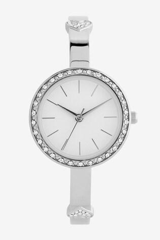 Silver Tone Skinny Sparkle Heart Bracelet Watch
