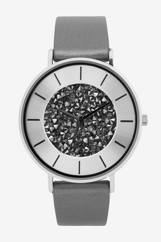 Silver Tone Crystal Dial Watch