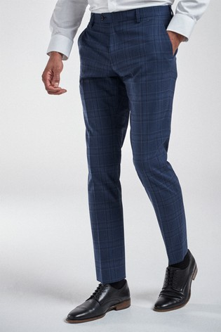 Bright Blue Slim Fit Check Suit: Trousers