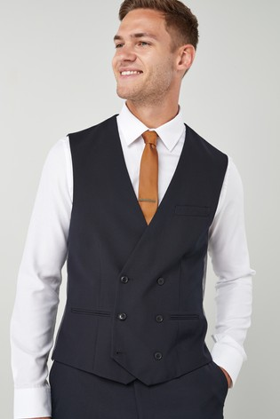 Navy Suit: Double Breasted Waistcoat