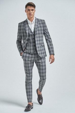 Light Grey Super Skinny Fit Check Suit: Jacket