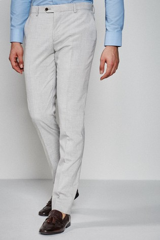 Light Grey Slim Fit Stretch Marl Suit: Trousers