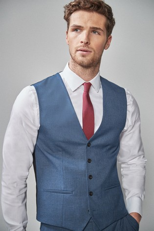 Blue Stretch Marl Suit: Waistcoat