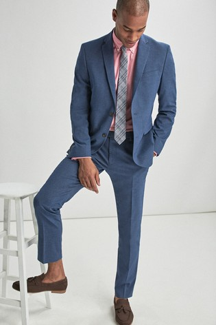 Blue Slim Fit Stretch Marl Suit: Jacket