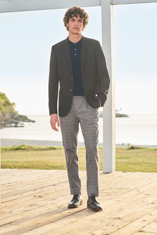 Charcoal Slim Fit Textured Blazer
