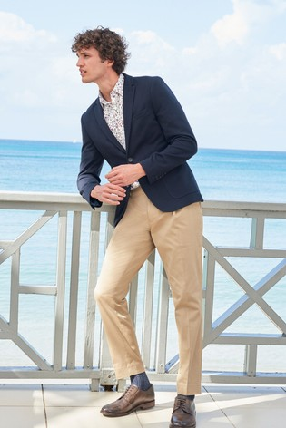 Navy Slim Fit Jersey Blazer