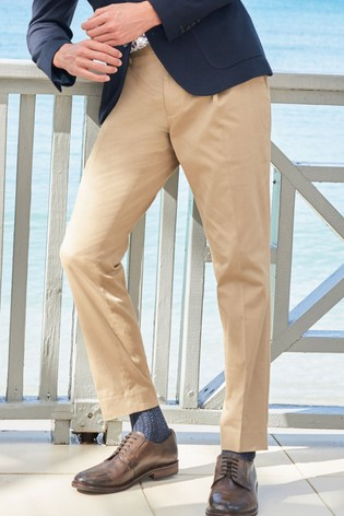 Sand Slim Tapered Cotton Blend Stretch Pleated Chino Trousers