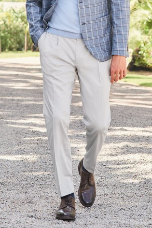 Light Grey Slim Tapered Cotton Blend Stretch Pleated Chino Trousers