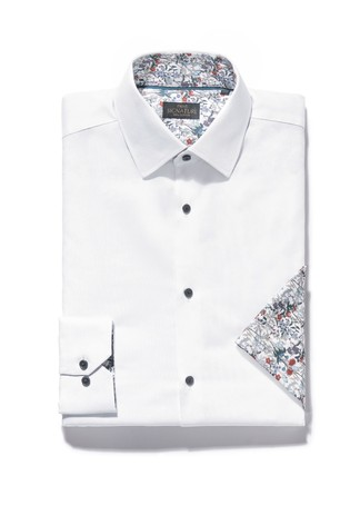 White Regular Fit Single Cuff Signature Contrast Trim Shirt And Pocket Square Set