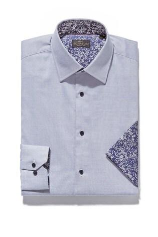 Lilac Slim Fit Single Cuff Signature Contrast Trim Shirt And Pocket Square Set
