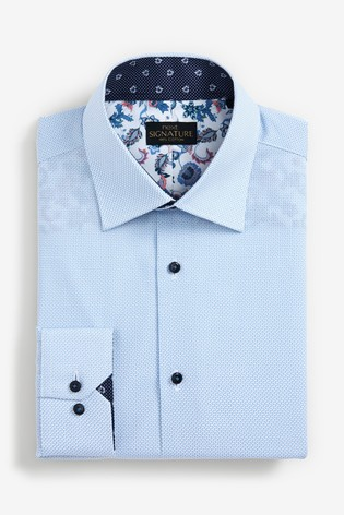 Blue Printed Slim Fit Single Cuff Signature Shirt With Trim Detail
