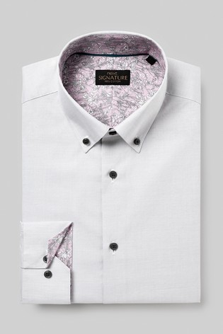 Grey Button Down Slim Fit Single Cuff Signature Textured Shirt With Trim Detail