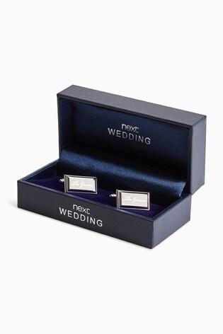 Silver Tone Groom Wedding Cufflinks