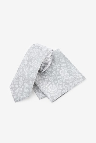 Silver Floral Silk Tie And Pocket Square Set