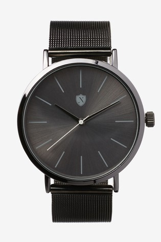 Gunmetal Tone Mesh Strap Watch