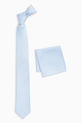Light Blue Silk Tie And Pocket Square Set