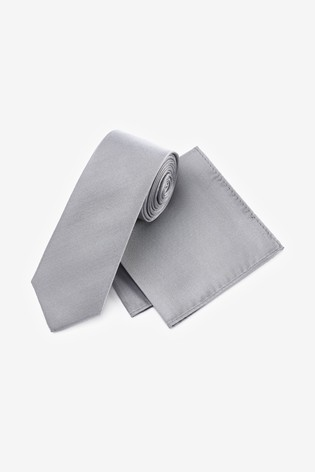 Silver Silk Tie And Pocket Square Set