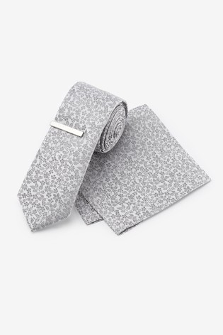 Silver Floral Silk Tie, Pocket Square Set And Tie Clip Set