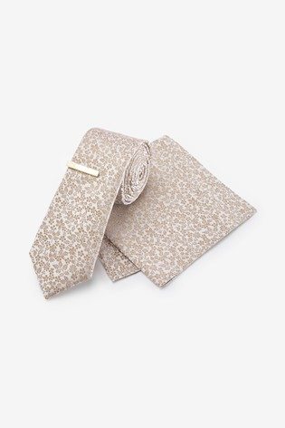 Champagne Floral Silk Tie, Pocket Square Set And Tie Clip Set