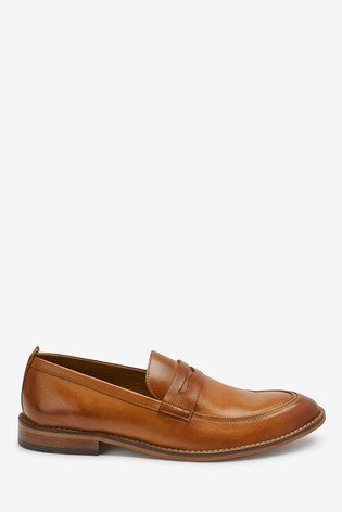 Tan Leather Contrast Loafers