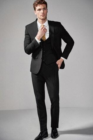 Black Slim Fit Two Button Suit: Jacket