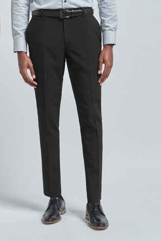 Black Slim Fit Belted Stretch Trousers