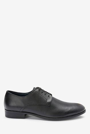 Black Round Toe Leather Derby Shoes