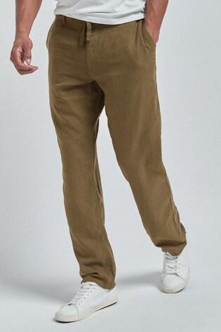 Khaki Linen Blend Drawstring Trousers