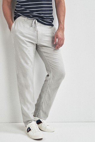 Light Grey Linen Blend Drawstring Trousers